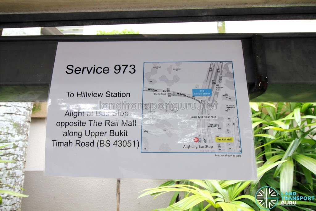 For Hume Commuters: Alight at Bus Stop 43051- Opp The Rail Mall, Upp Bt Timah Rd for Hillview MRT Station