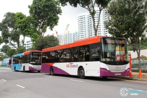Services 55, 135 and 155 buses laying over at Siglap Link
