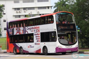 SBS Transit Volvo B9TL Wright (SBS3145Y) - Service 22, with advert wrap for EXSA 2016