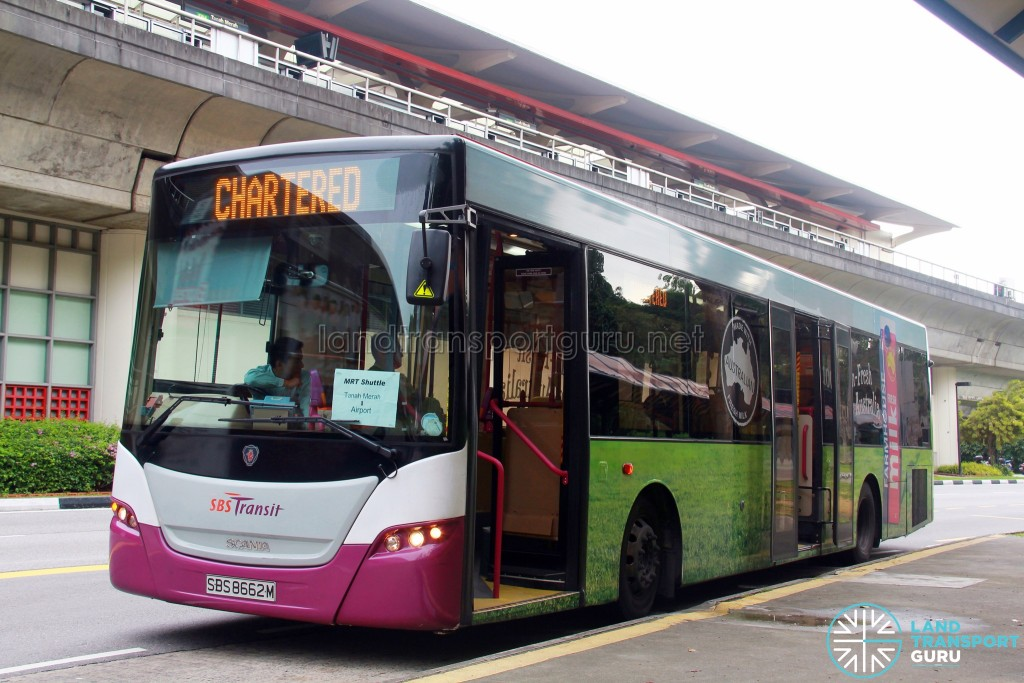 SBS Transit Scania K230UB (SBS8662M) - East West Line MRT Shuttle (Tanah Merah - Changi Airport)