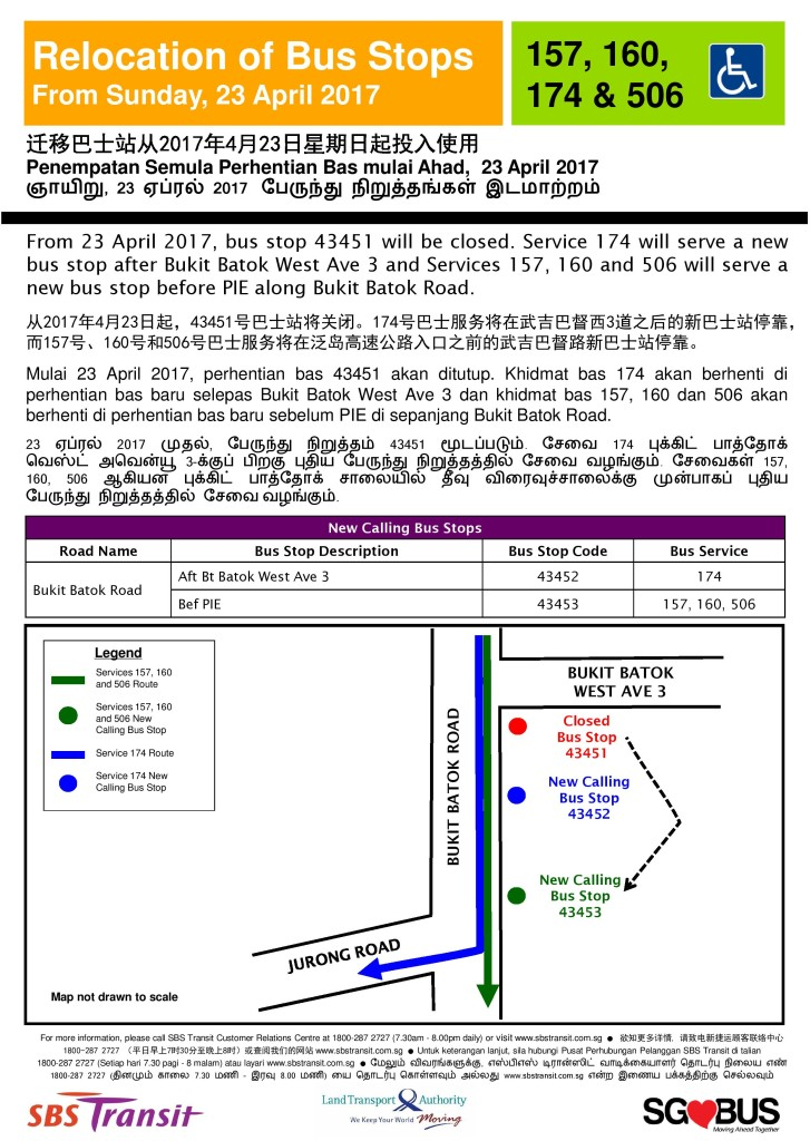 Relocation of Bus Stops along Bukit Batok Road (SBST Services 157, 160, 174 & 506)