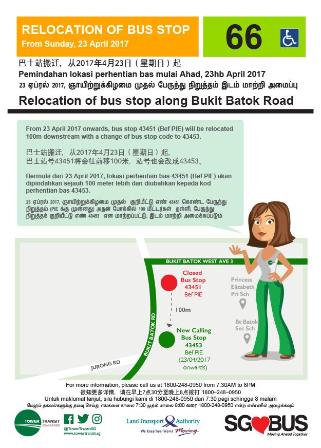 Relocation of Bus Stops along Bukit Batok Road (TTS Service 66)