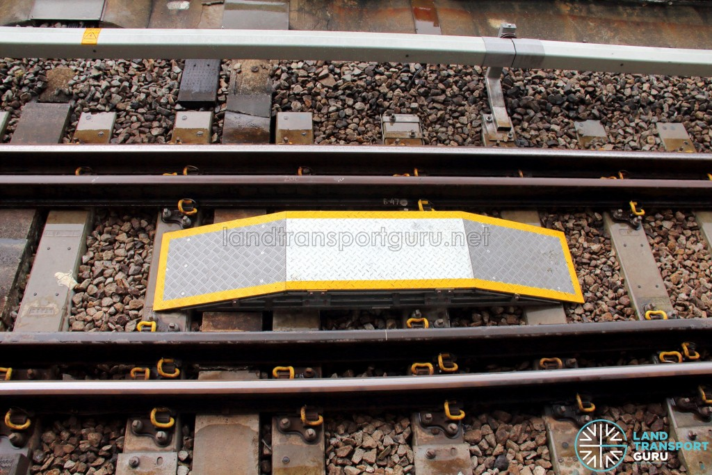 Alignment device installed at the ends of station platforms for precise train stopping, as part of the CBTC signalling system