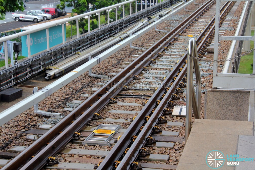 Transponder units installed on tracks (Bright Yellow) as part of the CBTC signalling system