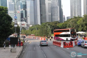 Reverse Flow Bus Only lane along Esplanade Drive during Car-Free Sunday Bus Diversions