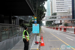 Temporary Bus Stop at Taxi Stand outside SGX Ctr 2 during Car-Free Sunday SG
