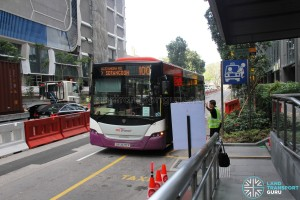 Bus Service 100 calling at the Temporary Bus Stop along Shenton Way during Car-Free Sunday SG