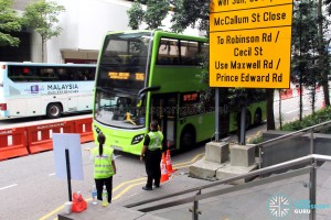 Bus Service 106 calling at the Temporary Bus Stop along Shenton Way during Car-Free Sunday SG