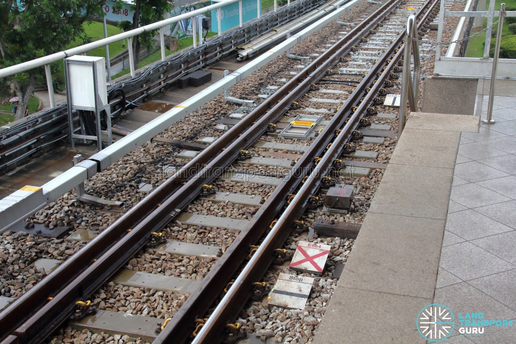 Track circuit equipment (grey boxes) on the right of the running rails and other visual guides as part of the Fixed Block signalling system