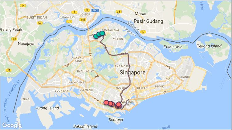Route G18 at a glance. Map Image: Beeline.sg