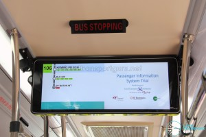 LTA Trial PIDS approaching the route terminus, with spaced out route details