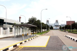 A new bus stop along Tuas Bay Link for Service 247, one of many new bus stops in the Tuas South area.