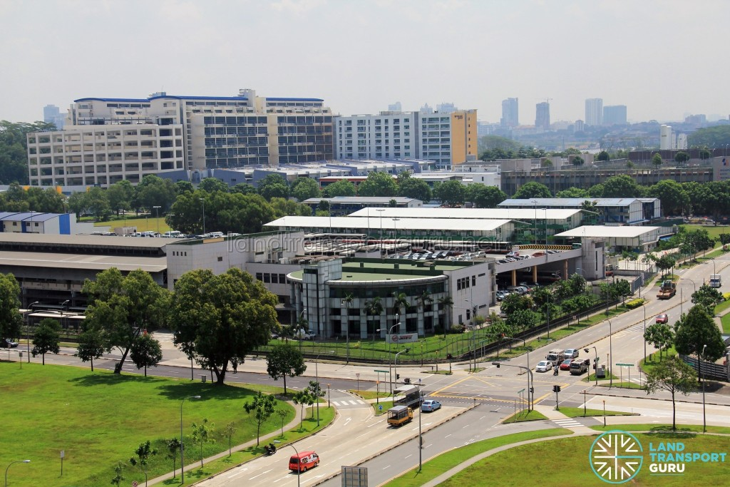 Woodlands Bus Depot - Overhead view. Buses can be seen parking on the upper level.