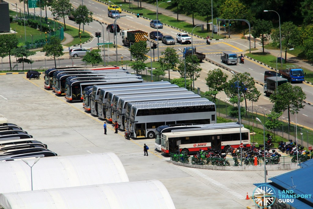 Woodlands Bus Park - Close up of unpainted ADL Enviro500 and MAN NL323F buses