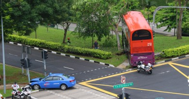 Overhead view of accident site. The bus stopped metres away from a steep embankment