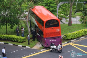 Overhead view of accident bus