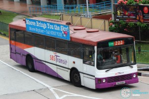 SBST Volvo B10M MkIII (SBS826K) - Service 222, with Moove Skyliner banner advertising