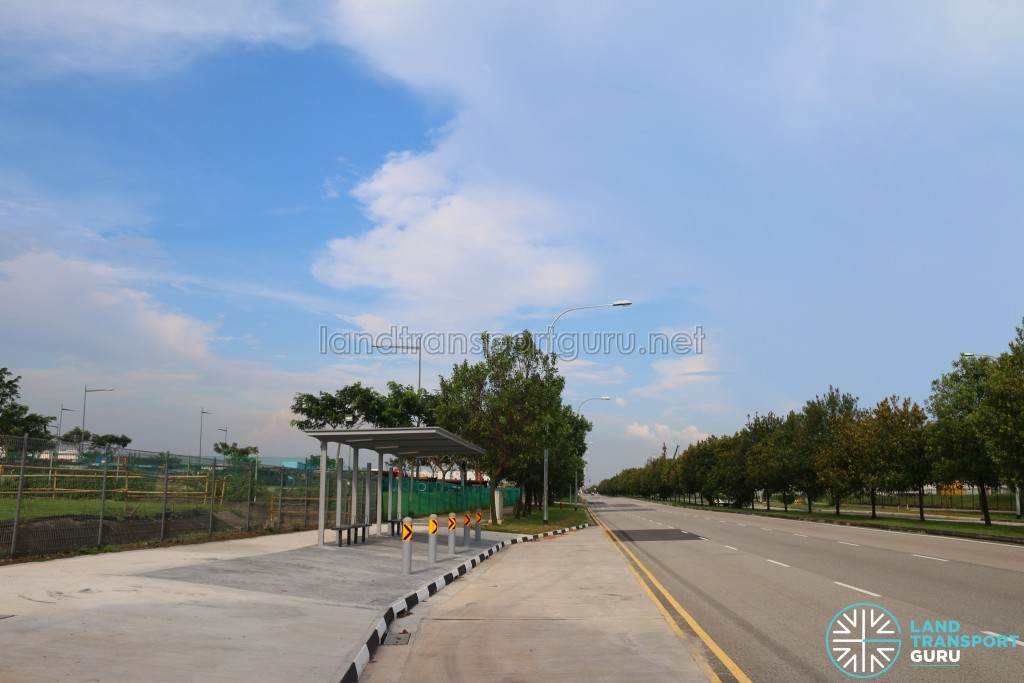 A new bus stop along Tuas South Avenue 14 for Service 248, one of many new bus stops in the Tuas South area.