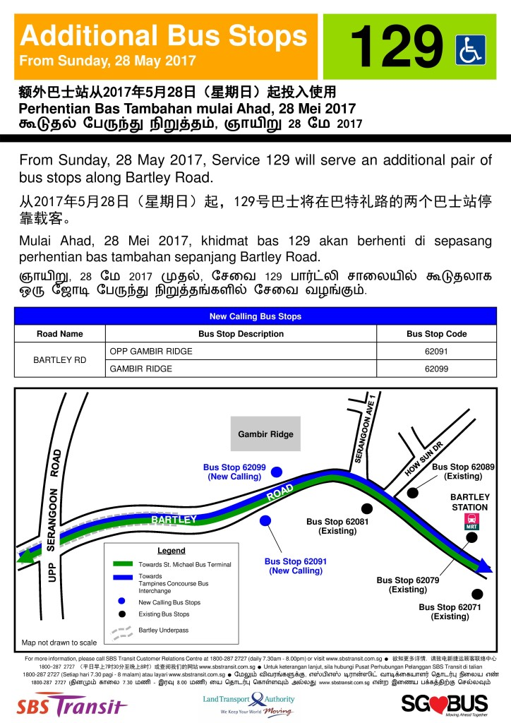 Additional Bus Stops for Service 129