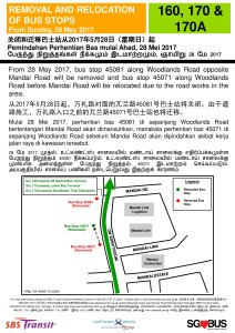 Removal & Relocation of Bus Stops along Woodlands Road for SBST Services 160, 170 & 170A