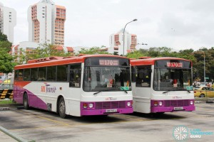 SBST Volvo B10M MkIIIs: SBS685A and SBS737J at Queen Street Bus Terminal