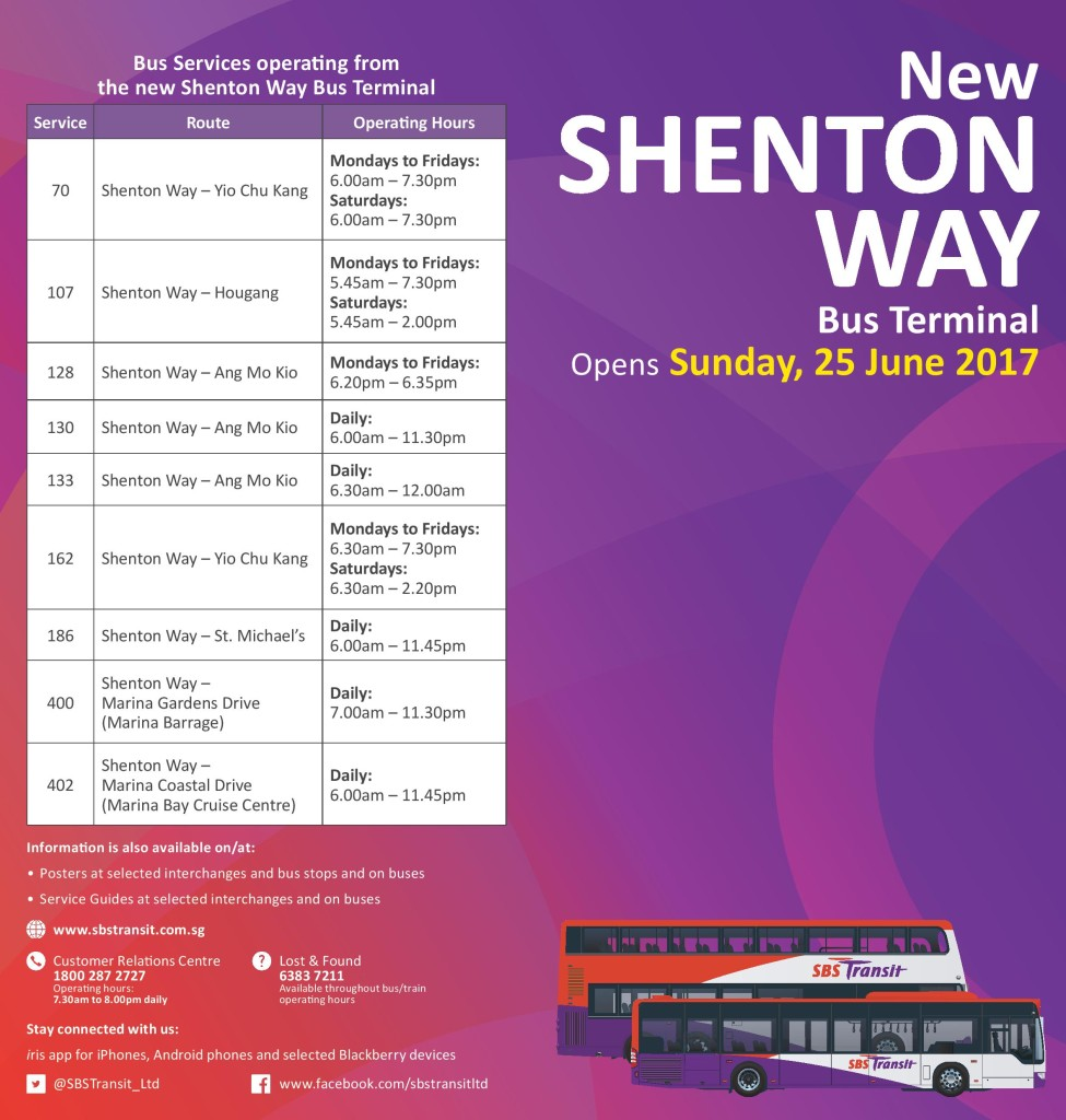 Relocation of Shenton Way Bus Terminal for Services 70, 107, 128, 130, 133, 162, 186, 400 & 402
