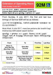 Extension of Operating Hours for Service 92M Poster