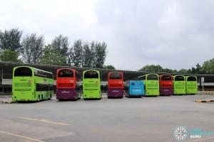 Buses Parking at Tuas Bus Terminal