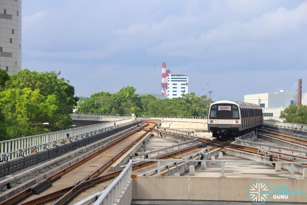 Tuas Link MRT Station - Inbound C151 train at scissors crossover