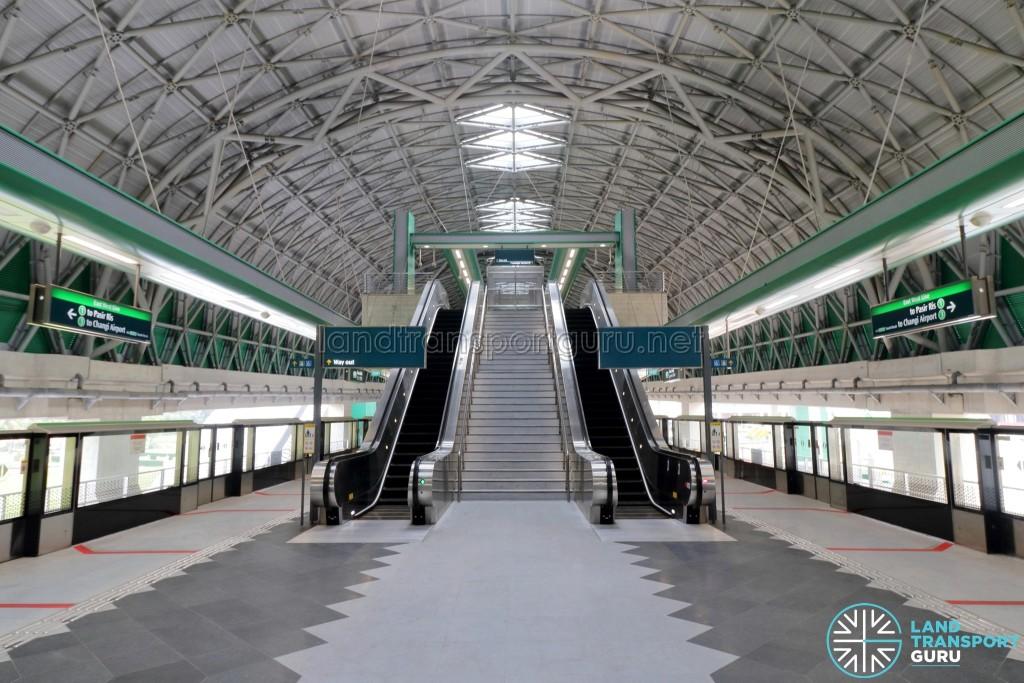 Tuas Link MRT Station - Platform level, with escalators to concourse level