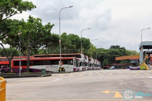 Hougang Bus Depot - Bus park as seen from Kim Chuan Road