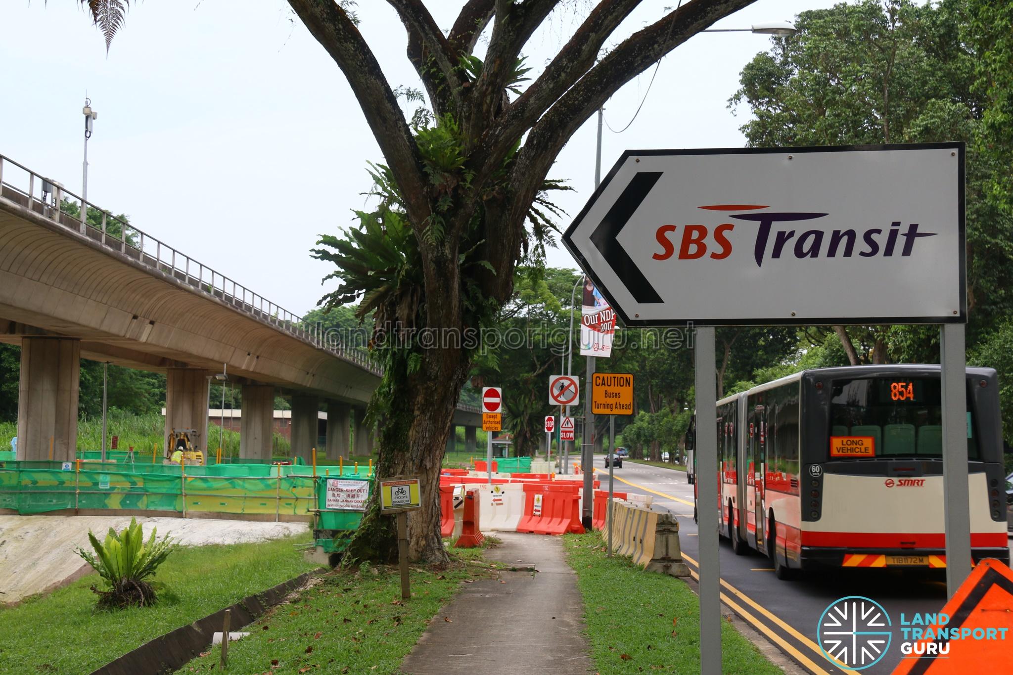 Seletar Bus Depot - SBS Transit Sign along Lentor Avenue