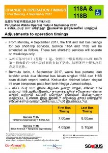 Poster: Short-Trip Service 118A & 118B change in operating hours (Aug 2017)
