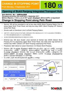 Bukit Panjang ITH Opening - Service 180 Poster