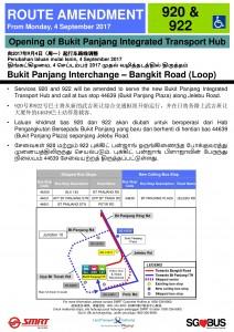 Bukit Panjang ITH Opening - Service 920, 922 Poster