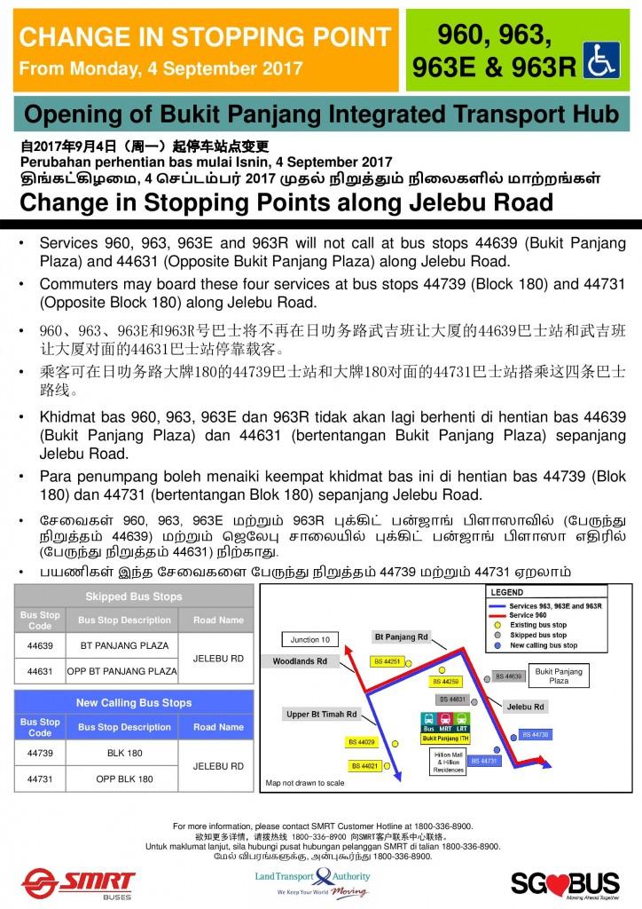 Bukit Panjang ITH Opening - Service 960, 963, 963E, 963R Poster