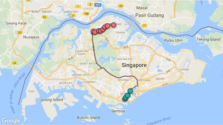 Route G105 at a glance. Map Image: Beeline.sg