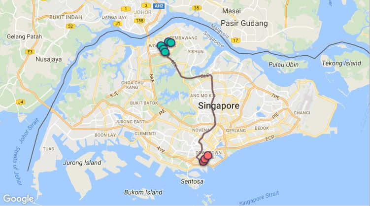 Route G114 at a glance. Map Image: Beeline.sg