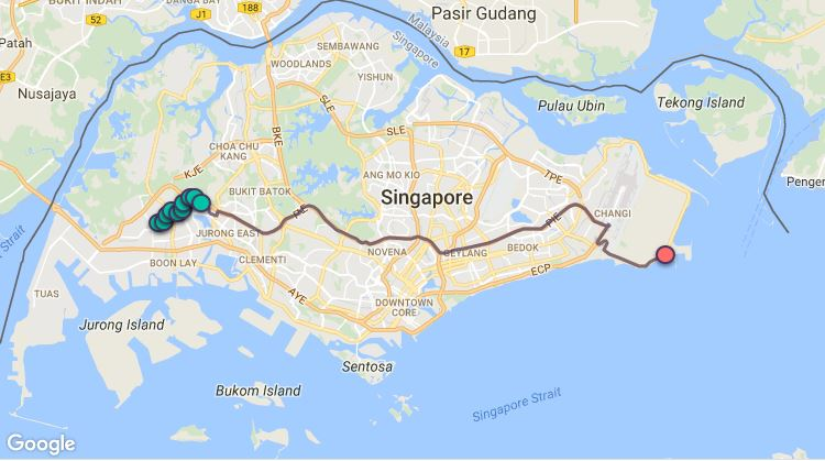 Route G118 at a glance. Map Image: Beeline.sg