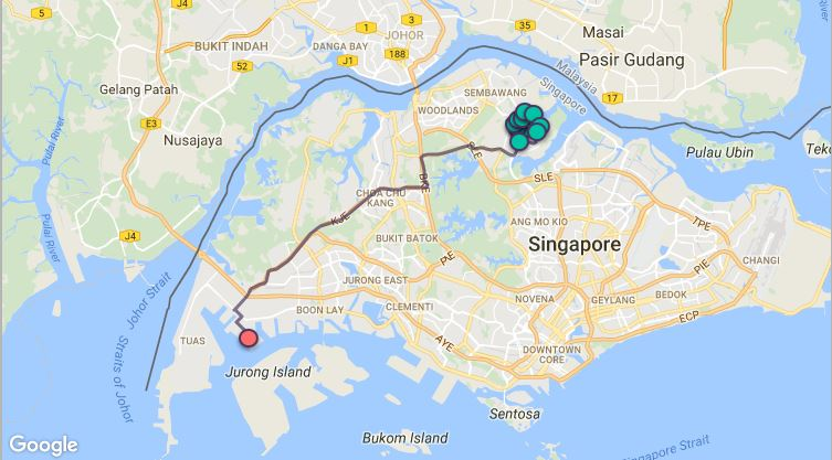 Route G97 at a glance. Map Image: Beeline.sg