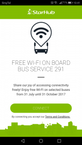 Service 291 Free Wi-Fi: Launch screen