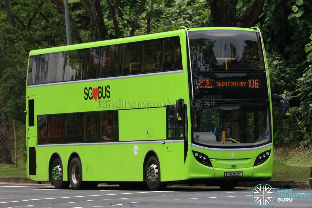 Tower Transit Alexander Dennis Enviro500 (SMB3521D) - Service 106 Formula 1 Diversions