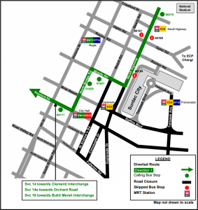 Formula 1 Diversions - Service 14, 14e, 16 diversion map