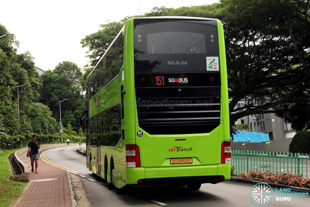 SBS Transit MAN A95 ND323F (SG5853K) - Service 151 (Rear)