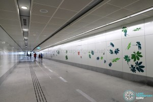 Bedok North MRT Station - Art In Transit along pedestrian walkway