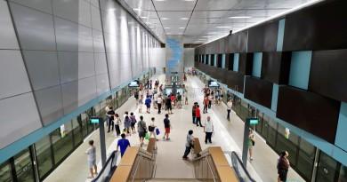 Bedok Reservoir MRT Station - Overhead view of platform