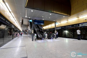 Bencoolen MRT Station - Escalators at Ticket Concourse
