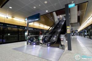 Bencoolen MRT Station - Escalators at Ticket Concourse