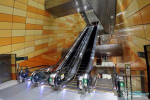 Bencoolen MRT Station - B3 Escalator Landing