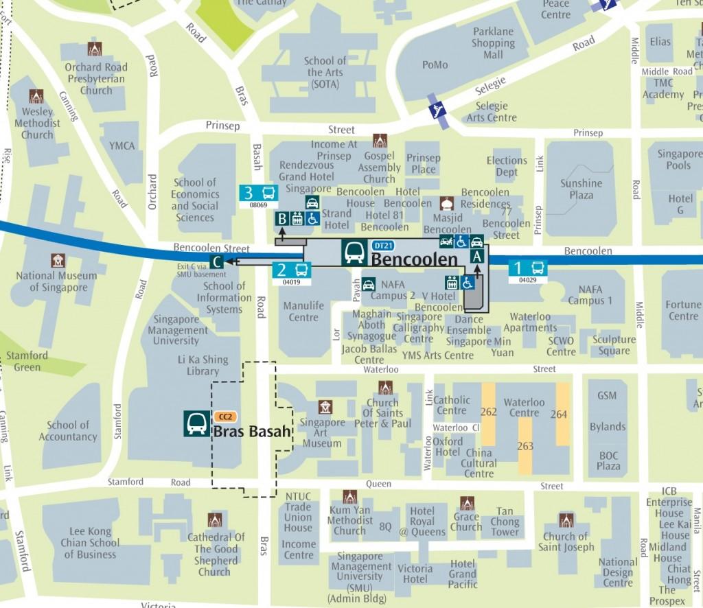 Bencoolen MRT Station - Map